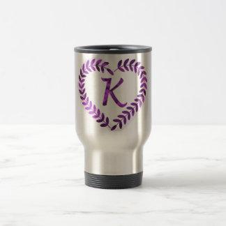 Letter K Camo with Purple  - Camo Alphabet Travel Mug