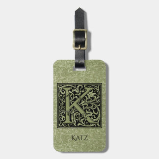 Letter K First Letter Monogram Luggage Tag