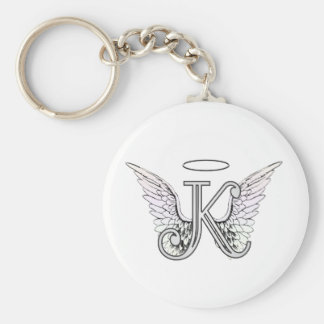 Letter K Initial Monogram with Angel Wings & Halo Basic Round Button Keychain