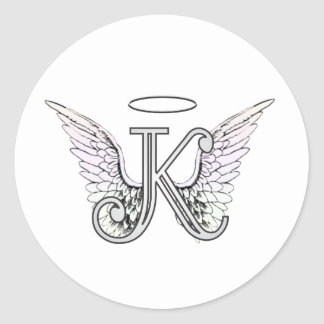 Letter K Initial Monogram with Angel Wings & Halo Classic Round Sticker