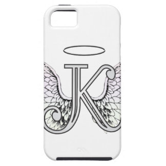 Letter K Initial Monogram with Angel Wings & Halo iPhone 5 Cases
