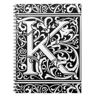 Letter K Medieval Monogram Vintage Initial Spiral Notebook