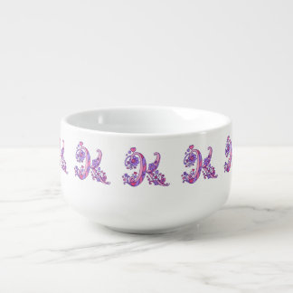 Letter K monogram pink purple art soup bowl mug