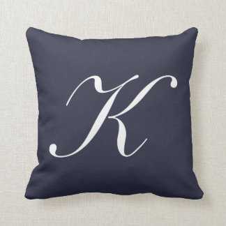 Letter K Navy Blue Monogram Pillow