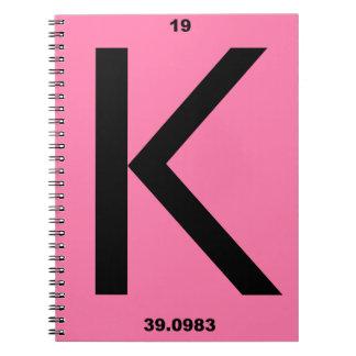 Letter K pink Spiral Note Book
