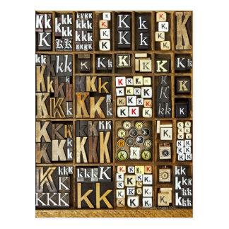 Letter K Postcard