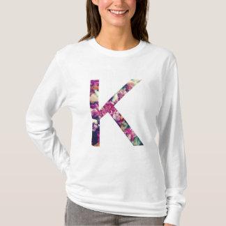 Letter K Scarlet Floral Design Long Sleeve T-shirt