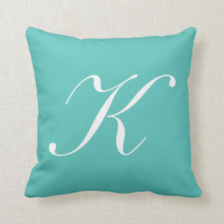 Letter K Turquoise Monogram Pillow