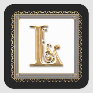 Letter L - Gold & Lace Classic Formal Wedding Seal Square Sticker