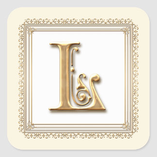 Letter L - Gold & Lace Classic Formal Wedding Seal Square Stickers