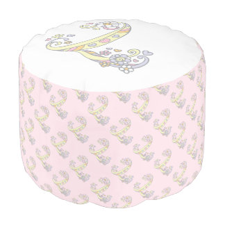 Letter L initial letter hearts pink white pouf