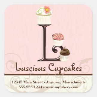 Letter L Monogram Cupcake Logo Business Stickers