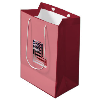 Letter L Monogram Initial Patriotic USA Flag Medium Gift Bag