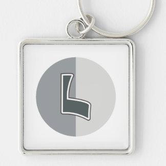 Letter L Silver-Colored Square Keychain