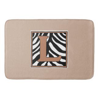 Letter L Zebra Monogrammed Bath Mat