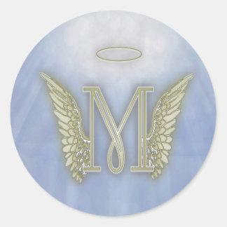 Letter M Angel Monogram Classic Round Sticker