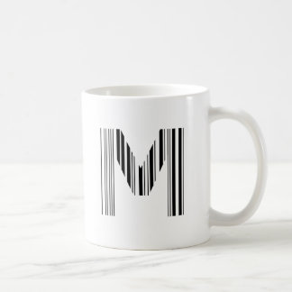 LETTER M BAR CODE First Initial Barcode Pattern Coffee Mug
