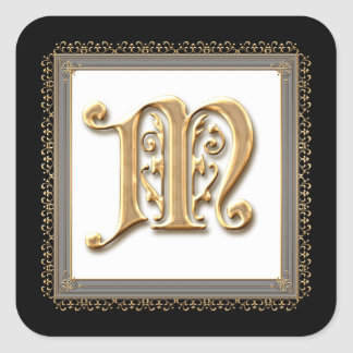 Letter M - Gold & Lace Classic Formal Wedding Seal Square Sticker