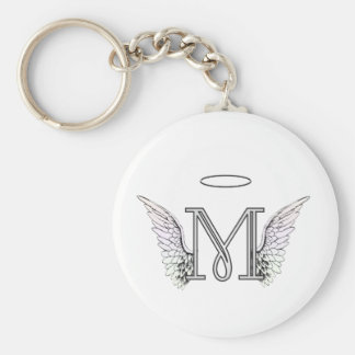 Letter M Initial Monogram with Angel Wings & Halo Basic Round Button Keychain