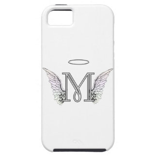 Letter M Initial Monogram with Angel Wings & Halo iPhone 5 Cases