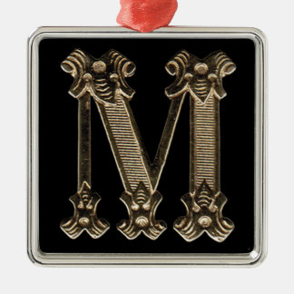 Letter M Initial on Square Ornament