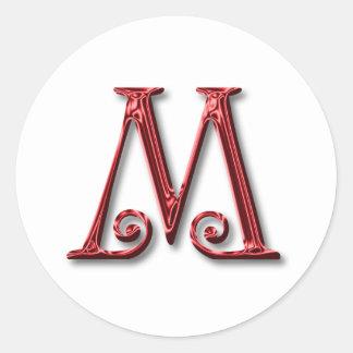 Letter M Monogram Round Sticker