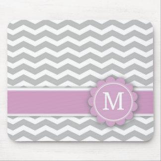 Letter M Pink Monogram Grey Chevron Mouse Pad