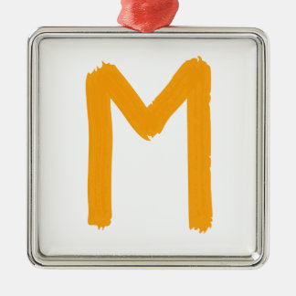 Letter M Silver-Colored Square Ornament
