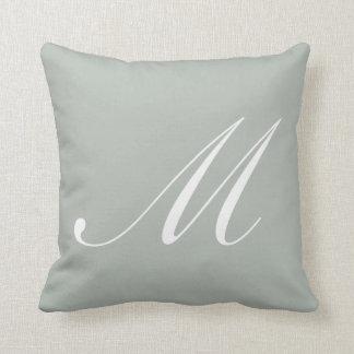 Letter M Silver Gray Monogram Pillow