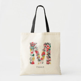 Letter M | Whimsical Floral Letter Monogram Bag I