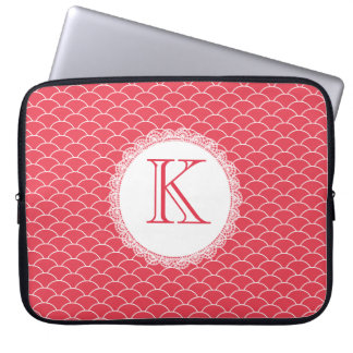 Letter Monogram Poppy Red Designer Laptop Bag