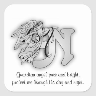 Letter N angel monogram alphabet initial Square Sticker
