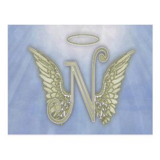 Letter N Angel Monogram Postcard