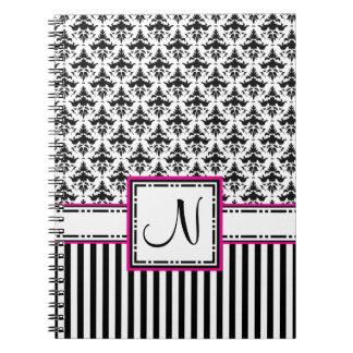 Letter N Black and Hot Pink Monogram Damask Notebook