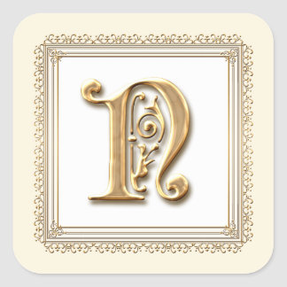 Letter N - Gold & Lace Classic Formal Wedding Seal Square Sticker