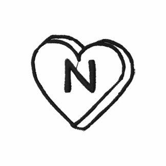 Letter N Heart Monogram Embroidered Shirt