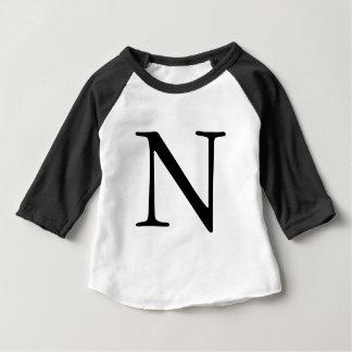 Letter N initial monogrammed black t shirt