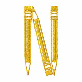 Letter N Pencil Monogram Embroidered Shirt