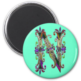 Letter N Pictorial Alphabet Flat 2 Inch Round Magnet