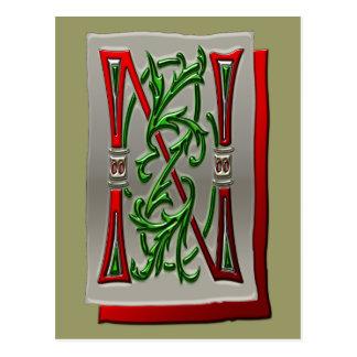 Letter N Pictorial Alphabet monogram Postcard