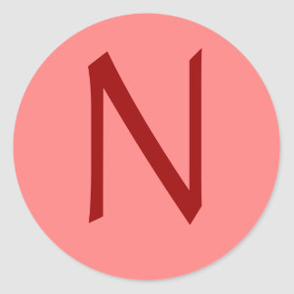 Letter N Rose Wine Classic Round Sticker