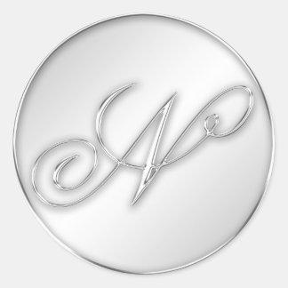 Letter N script initial faux silver monogram favor Stickers