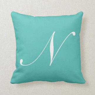 Letter N Turquoise Monogram Pillow