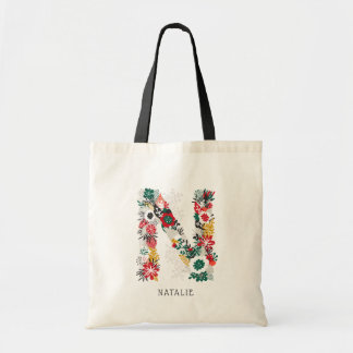 Letter N | Whimsical Floral Letter Monogram I Tote Bag