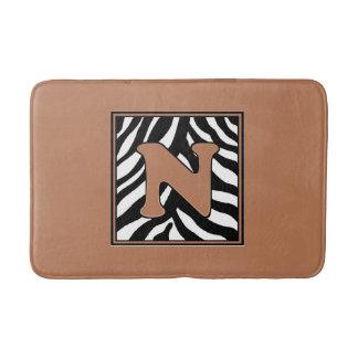 Letter N Zebra Monogrammed Bath Mat