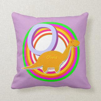 Letter O Alphabet ABC Olivia Dinosaurs Name Throw Pillow