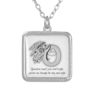 Letter o angel monogram alphabet initial black and silver plated necklace