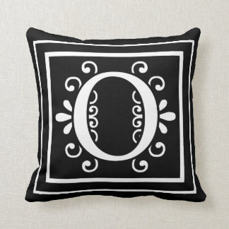 Letter O Monogram Black Throw Pillow