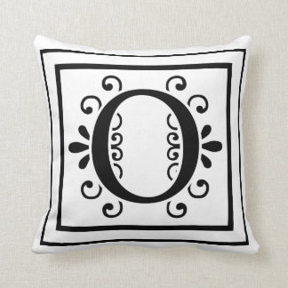 Letter O Monogram Throw Pillow