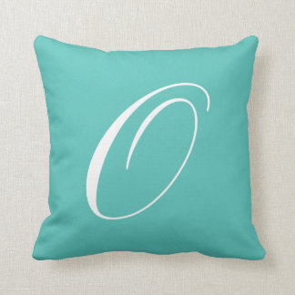 Letter O Turquoise Monogram Pillow